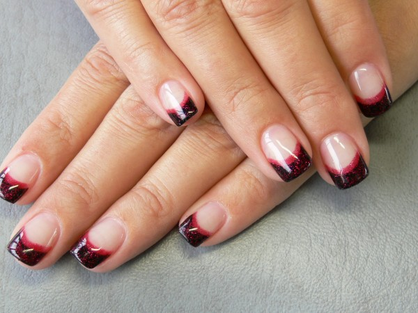 black french glitter red